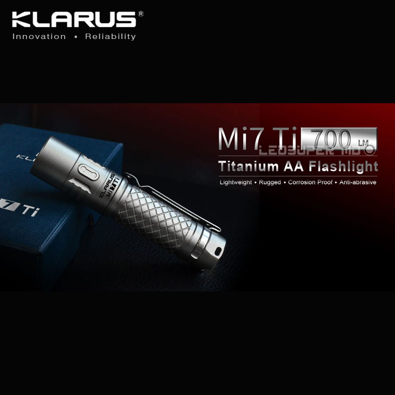 New Arrival KLARUS Mi7 Ti 700 Lumens CREE XP-L HI V3 LED Portable Titanium AA Flashlight with Free Battery klarus mi7 ipx8 mini led flashlight torch power by aa or 14500 battery cree xp l hi v3 lamp 700 lumens lantern smart indicator