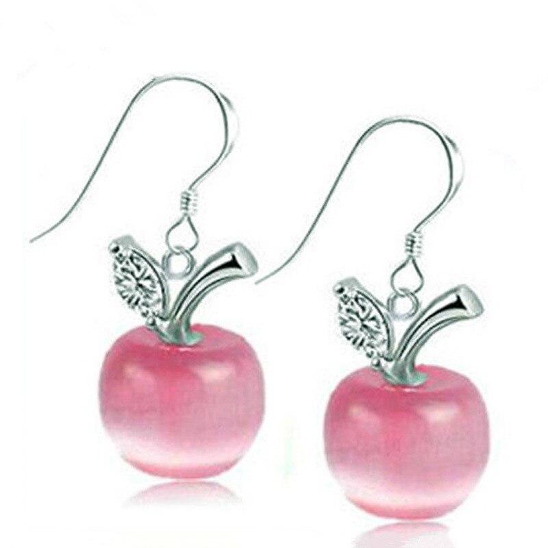 100 925 sterling silver fashion opal stone fruit ladies drop earrings jewelry women birthday gift Anti allergy drop shipping in Drop Earrings from Jewelry Accessories