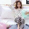 Новая коллекция весна сердца полосой ночное набор девушки прекрасный длинный рукав пижамы дамы отдыха костюм женский Случайные пижамы