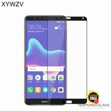 hot deal buy 2pcs full glue cover glass huawei y9 2018 tempered glass screen protector for huawei y9 2018 phone film for huawei y9 2018 glass