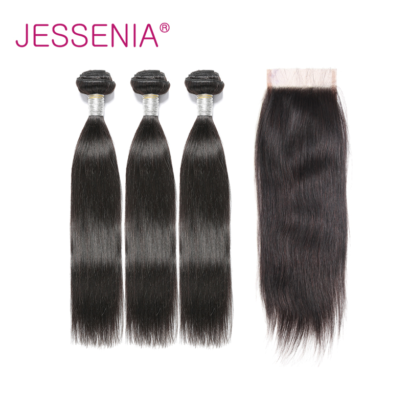 JESSENIA Hair Indian Straight Hair With Closure 4Pcs/Lot Remy Human Hair Weave 3 Bundles With Closure Free/Middle/Three Part