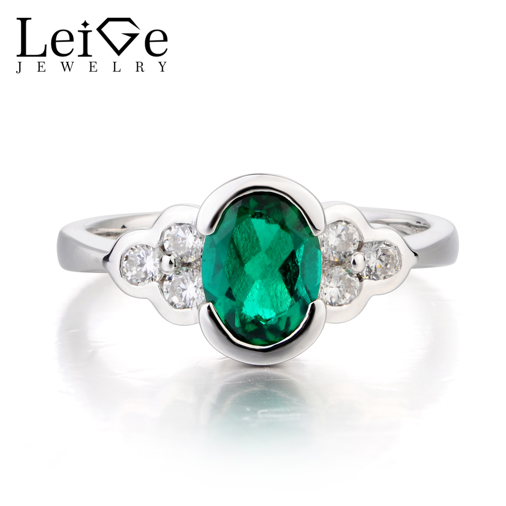 Leige Jewelry Emerald Engagement Ring Emerald Ring May Birthstone Oval Cut Green Gemstone Real 925 Sterling Silver for Women цена
