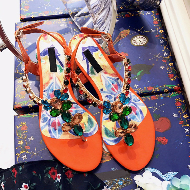 Luxury Colorful Crystal Women Summer Sandals Sexy Printed Flower Peep Toe Buckle Strap Flats Shoes Runway Gladiator Shoes Woman цена