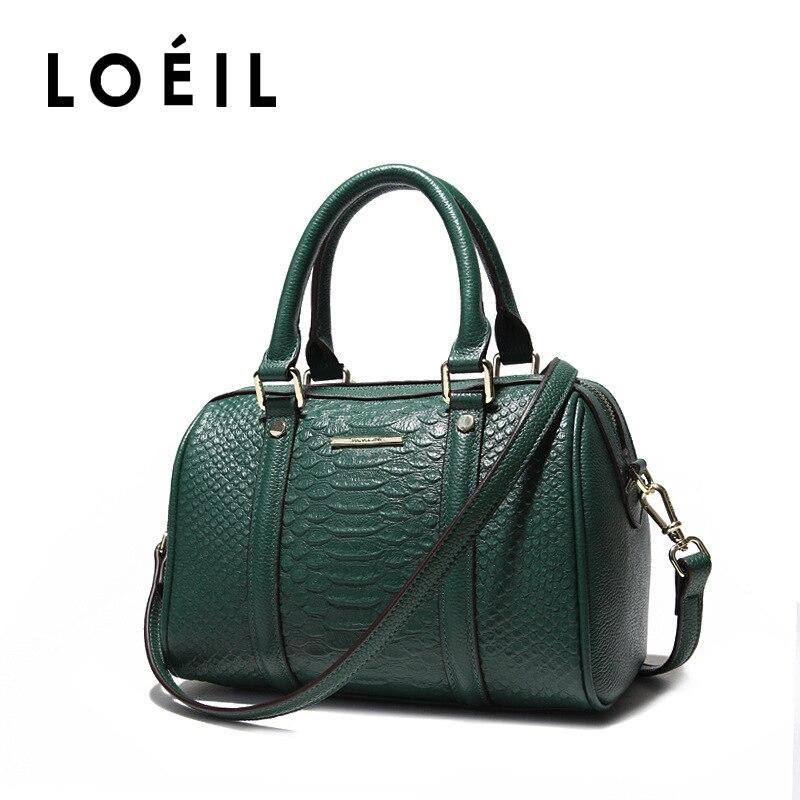 LOEIL 2018 new leather handbags handbags first layer cowhide shoulder slung big bag Boston bag цена