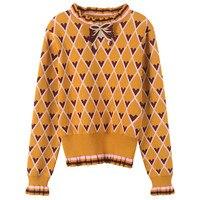 Heart Jacquard Sweater Femme Autumn Winter Bow Jumper Women Sweater Ruffles Striped Pullover Knit Top Runway Design