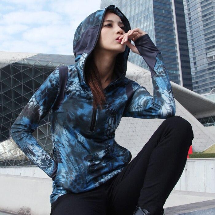 Камуфляжная Женская худи быстросохнущая футболка морская змея рок Толстовка Kryptek Camo женские рубашки тактическая дышащая рубашка футболка для охоты