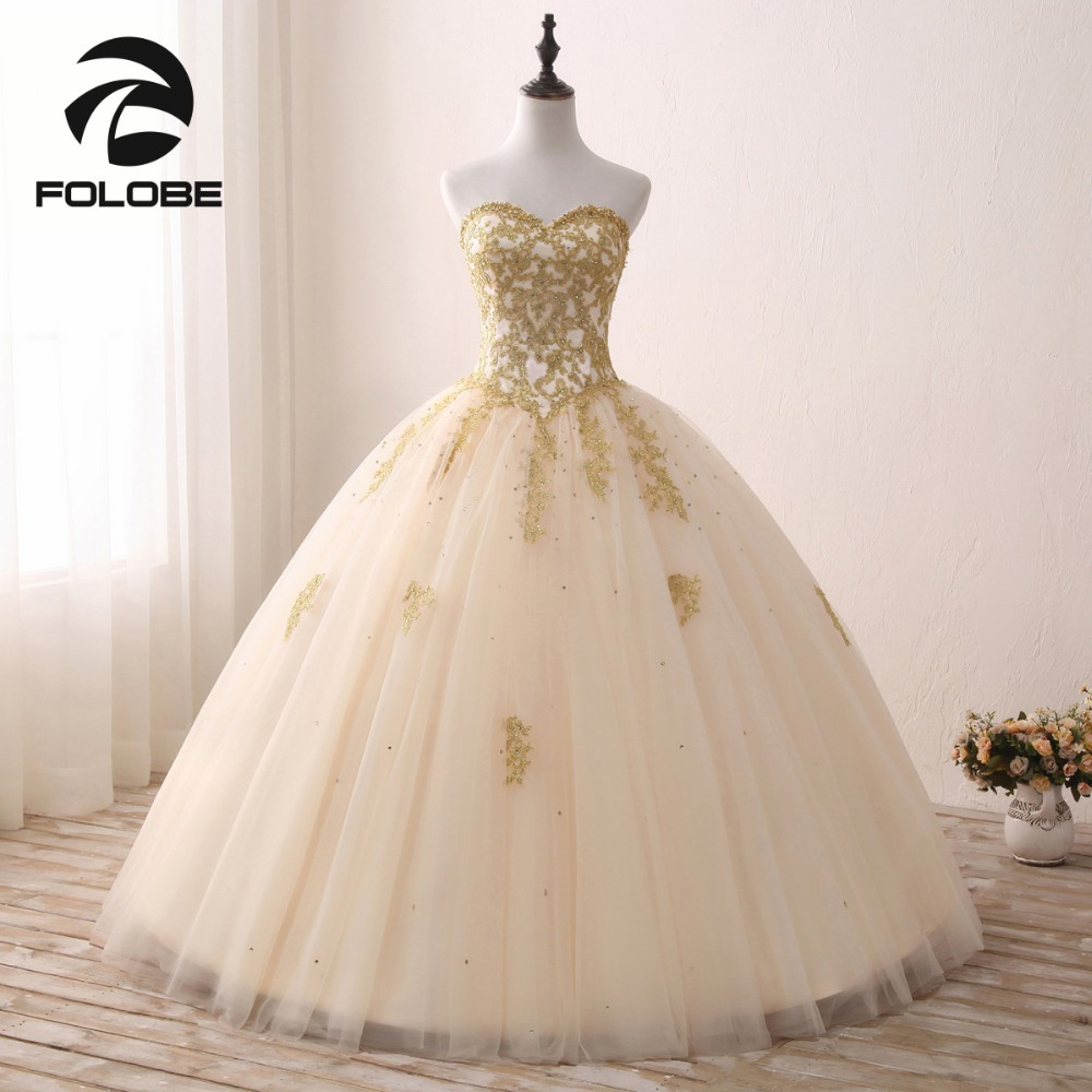 Light Champagne Strapless Beading Lace Vestidos De Festa Luxury Gold Lace Ball Gown   Prom     Dresses   Customize   Prom   Party Gowns