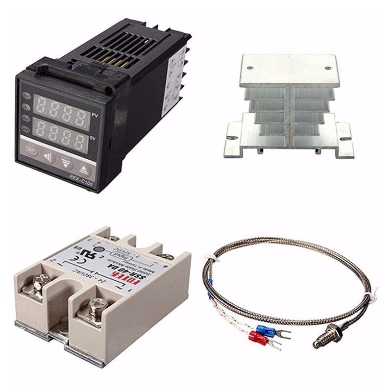 Digitale 220V PID REX-C100 Temperatur Instrument Controller + max.40A SSR + K Thermoelement, PID Controller Set + Kühlkörper
