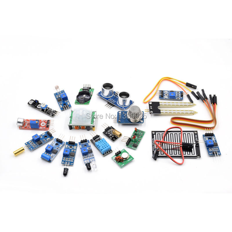 Free shipping! The Sensor Module Kit, 16 Kinds of Sensor For Raspberry pi 2 Model B, (included HC-SR04 Sensor etc.)