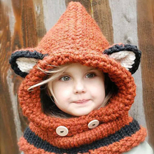 8ac6f3967a34f 2018 Winter New Children Cartoon Fox Shpae Knitted Hats  Shawl Baby Girls  Photography Props Warm Neck