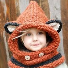 2018 invierno nuevos niños dibujos animados Fox Shpae sombreros tejidos y  chal bebé niñas fotografía utilería ef0a4d27956