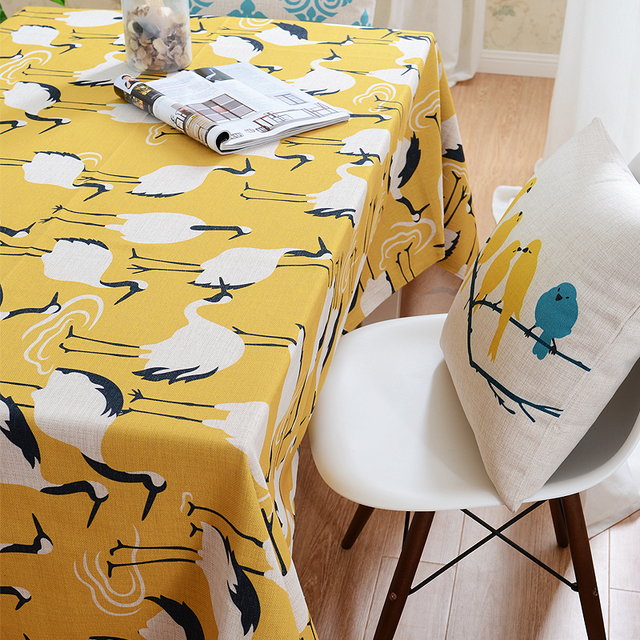 Nordic Style Modern Table Cloth Cotton Linen Ocean Animals Tablecloth  Customize Table Cloth