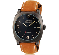CURREN 8158 Men S Fashionable Water Resistant Wrist Watch With Calendar Function Faux Leather Band Black