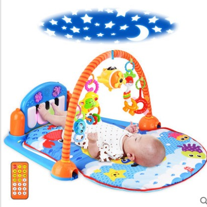 Baby foot piano music newborn games fitness frame blanket 0 and 1 year old the 3-6-12 months baby toys fitness rack baby music electric game blanket newborn baby game blanket toys with remote control