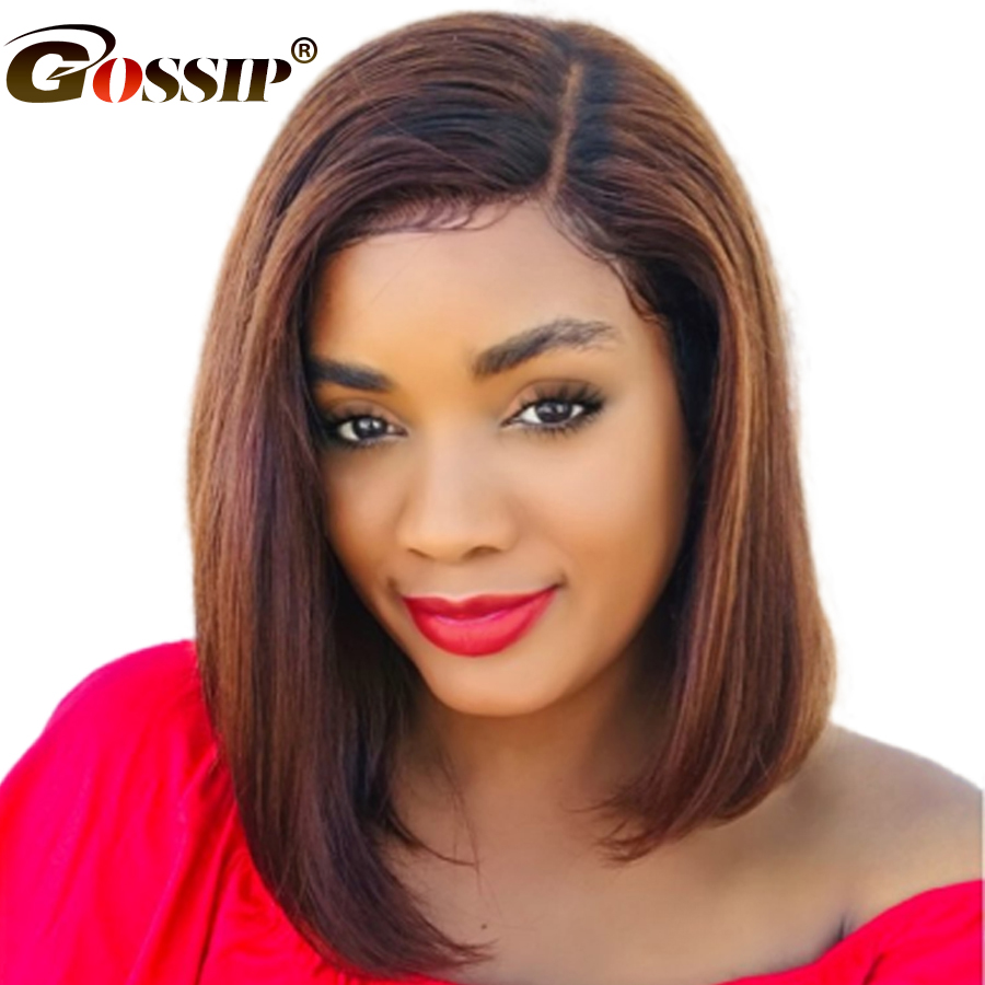 Short Bob Wig Human Hair Straight Lace Front Wig Gossip Hair 13x6 Lace Wig Malaysian Human Hair Wigs For Black Women Remy Hair