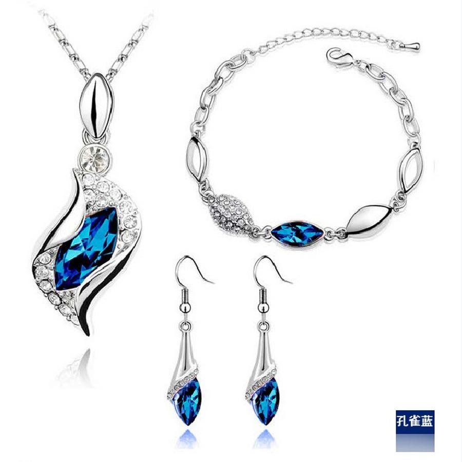 Nieuwe mode verzilverde kristallen ketting armband oorbellen sieradensets voor vrouwen conjuntos de joyeria