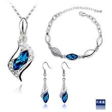 New Fashion Silver Plated Sapphire Crystal Necklace Bracelet Earrings Jewelry Sets for Women conjuntos de joyeria