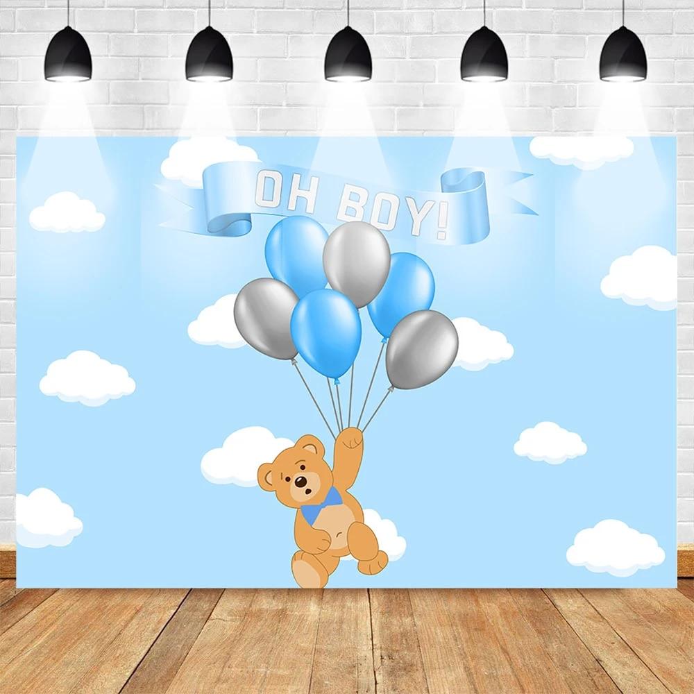 Mehofoto Kartun Beruang Fotografi Latar Belakang Untuk Anak Laki Laki Balon  Pesta Ulang Tahun Bayi Foto Latar Belakang Awan Langit Biru Background  -  AliExpress