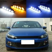 Xe Ô Tô Nhấp Nháy 2 Chiếc Lái Xe LED DRL Chạy Ban Ngày Ánh Sáng Ban Ngày Đèn Sương Mù Với Nhan Xe Volkswagen Scirocco 2011 2015