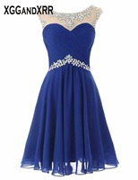 On Sale Short Prom Dress 2018 Sparkling Beading Crystal Scoop Chiffon Pleats Navy Blue Girls Party