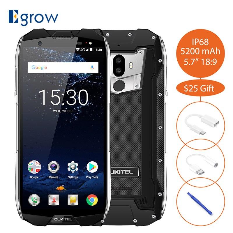 Oukitel WP5000 Waterproof IP68 5.7Inch 18:9 Display Android 7.1 MTK6763 Octa Core 6GB+64GB 5200mAh 4G Fingerprint ID Smartphone