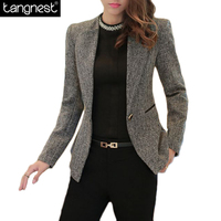 TANGNEST Spring Fashion Plus Size Slim Blazer 2017 NEW Basic Solid Costume Office Female Formal Jackets