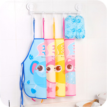 Kids Chef Apron-Sets Painting Children Bibs Eating-Clothes Cooking Waterproof Cute