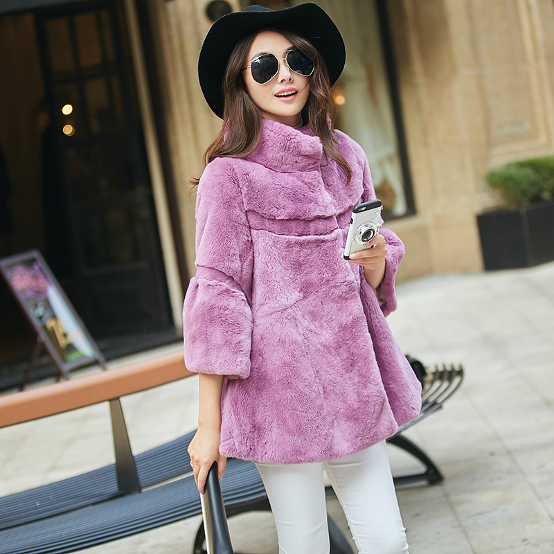 Fashion wave cut real rex rabbit fur coats women stand collar loose fit natural rabbit fur coat outerwear large size g3895