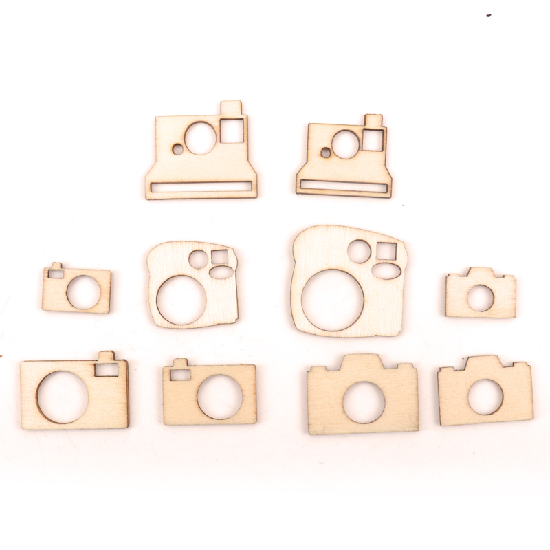 Handmade Wooden Slices Crafts Home Decoration Accessories Scrapbooks Painting DIY Mixed Camera Pattern Garniture 15-30mm 50pcs