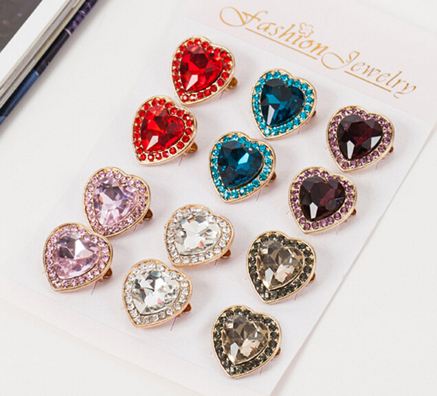 Hijab brooch pin fashion mini shawl heart shaped fix safety brooch scarf pin high 6 colors 12pc/lot