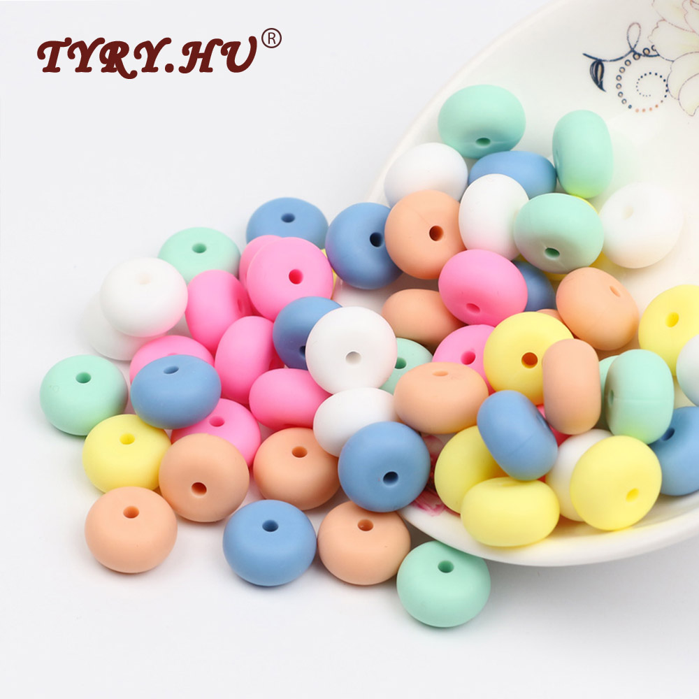 TYRY.HU 10Pcs Abacus Beads Silicone Beads Food Grade Safe Rubber Teethers Beads Baby DIY Teething Necklace Loose Beads Toys