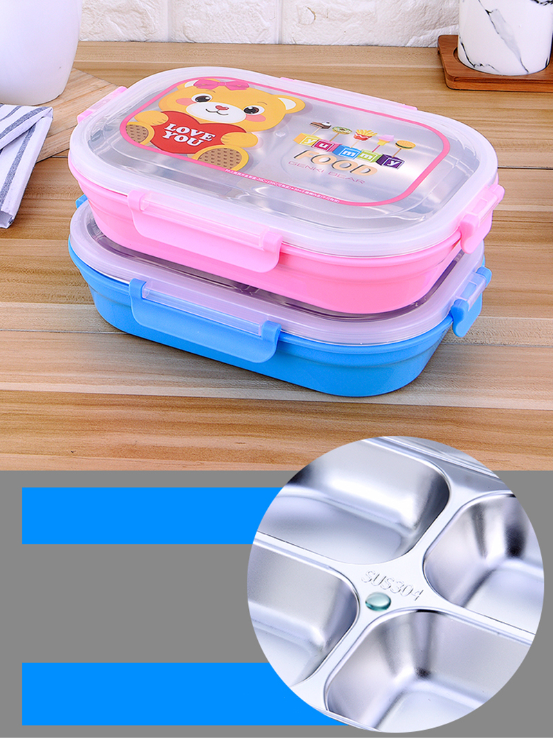 Hello Kitty Deraemon Cartoon Food Container Thermos Children School Picnic Portable Bento Lunch Boxes Rectangle Plastic Stainless Steel 9