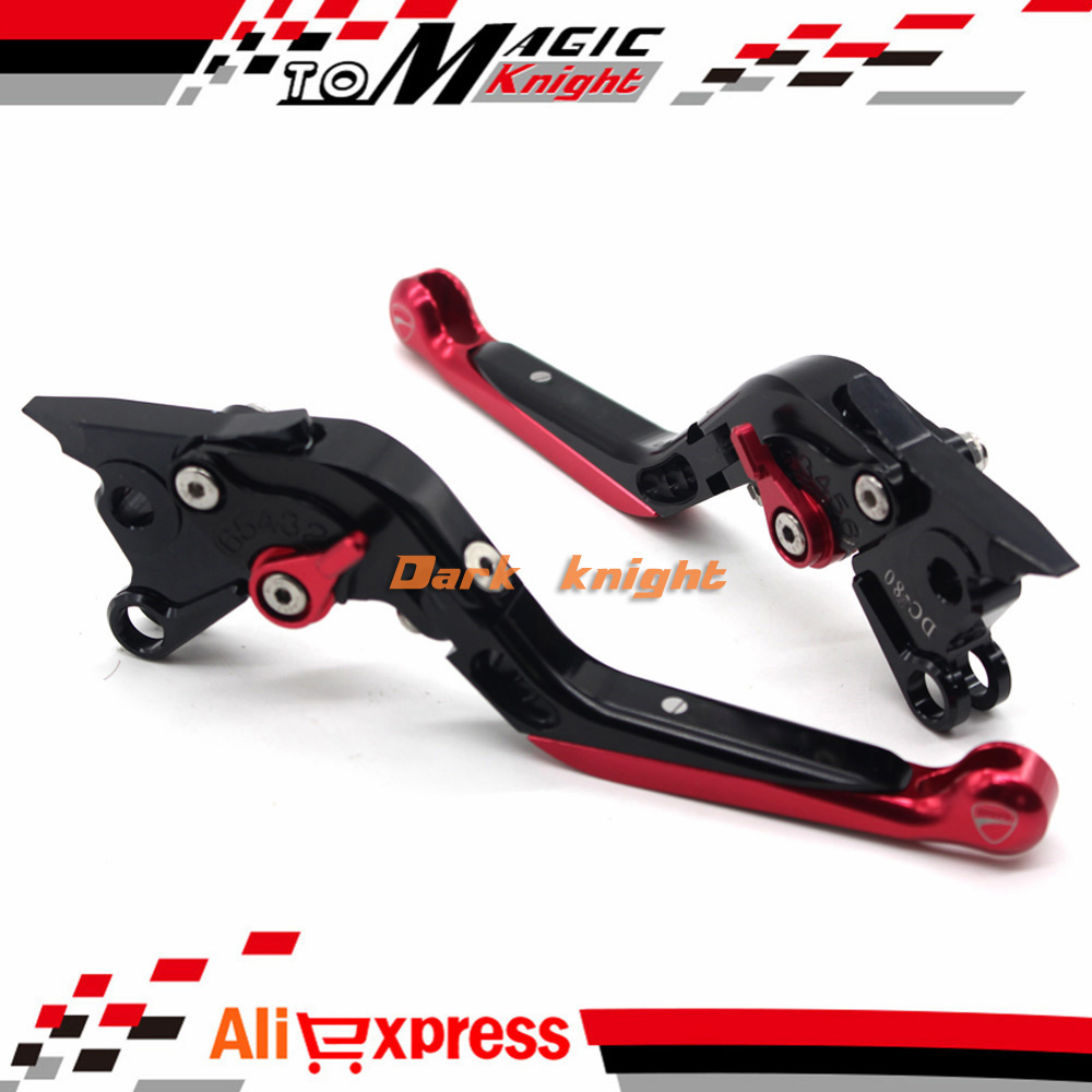 ФОТО For DUCATI MONSTER S4 S4R 900 1000 Motorcycle Accessories CNC Billet Aluminum Folding Extendable Brake Clutch Levers Black+Red