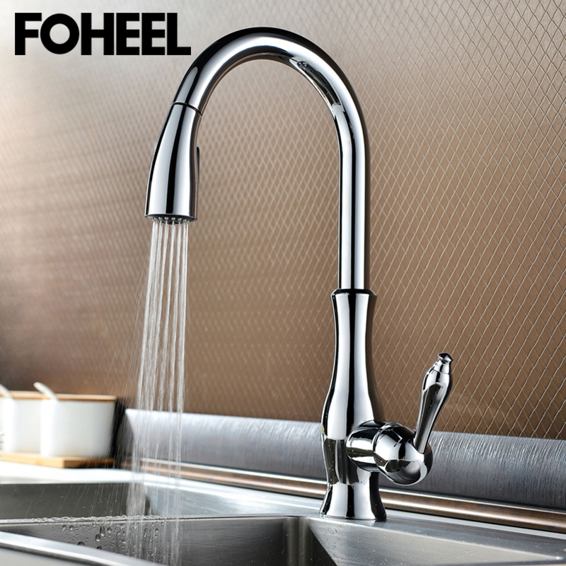 FOHEEL Kitchen Faucets Silver And Black Single Handle Pull Out Kitchen Faucet 360 Degree Mixer Tap Hot And Cold Kitchen Faucet