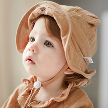 цена Cute Bear Baby Hat Wide Brim Sun Hat For Baby Girls Cotton Infant Boys Bucket Hat Spring Summer New Cap 6-12M Baby Boys Clothing