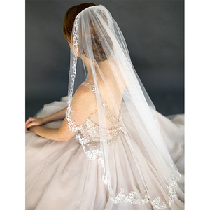 Verngo Appliques Edge Wedding Veil Shoulder Length bridal veil Wedding Accessories