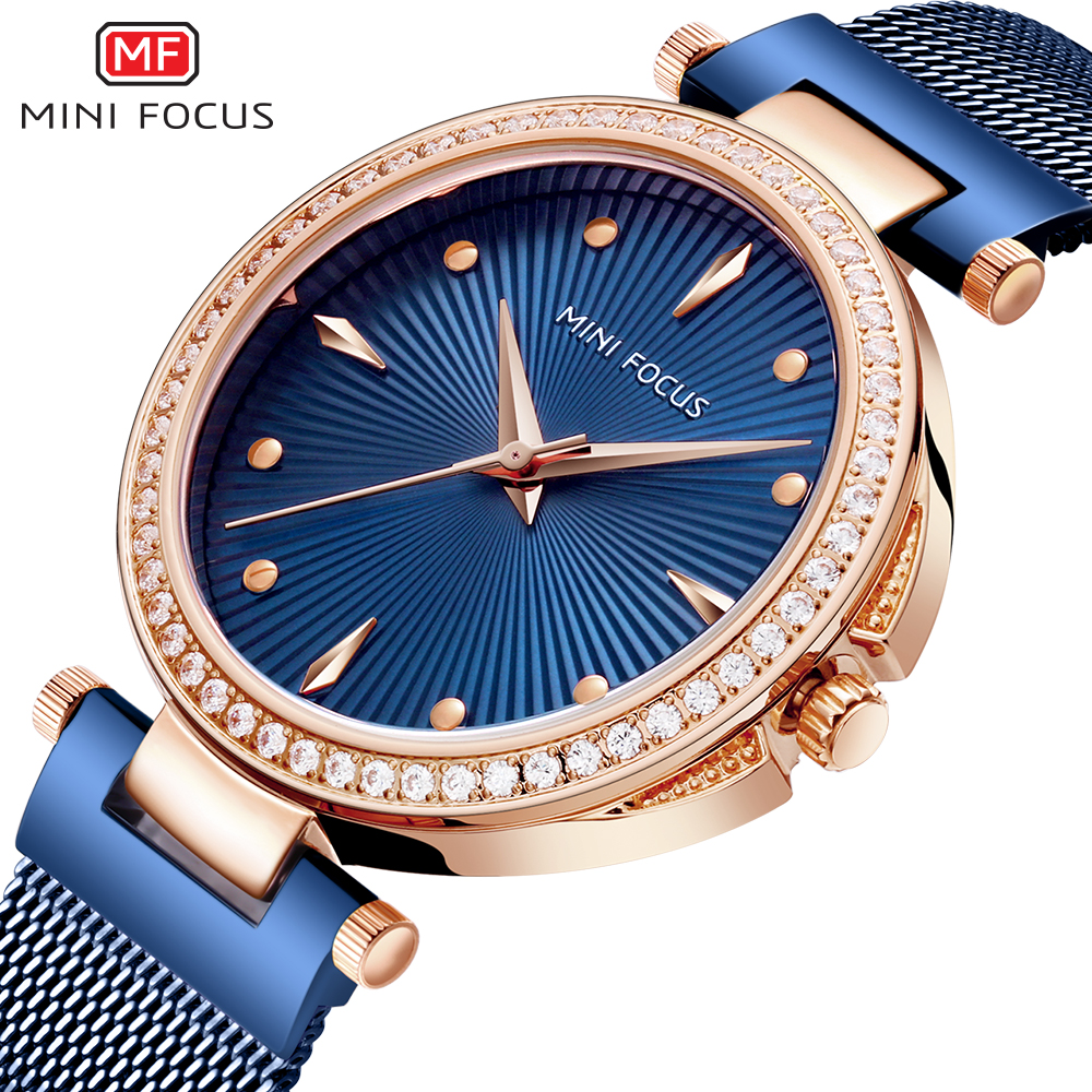 MINIFOCUS Wrist Watch Women Fashion Blue Stainless Steel Quartz Watches Bracelet Clock Relogio Feminino Luxury Ladies Watches o t sea luxury women watches alloy dial quartz analog stainless steel bracelet wrist watch relogio feminino montre clock 420717