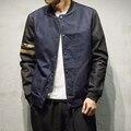 Осень Джинсовой бейсбол куртка мужчины Большой размер 3xl 4xl 5xl xxxxl Разные рукава Корейской Моды Джинсы верхняя одежда