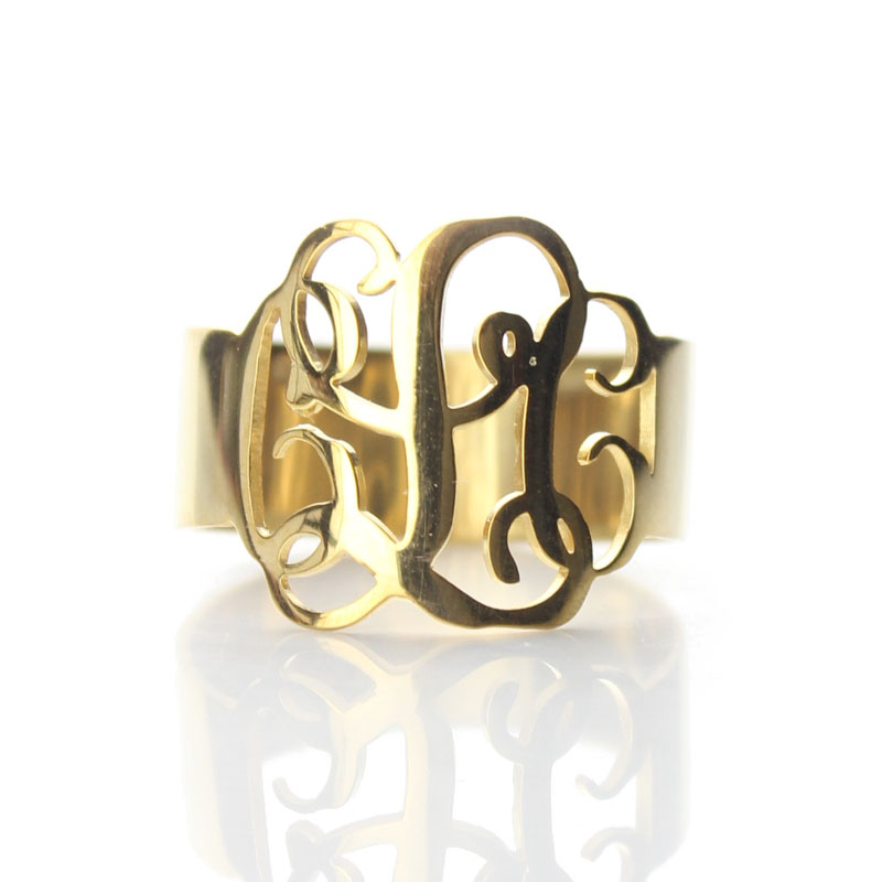 AILIN Cut Out Monogram 3 Initial Ring Gold Color Hand Cut Script Monogrammed Rings for women