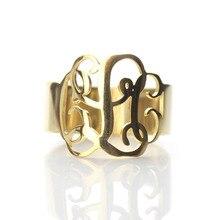 Cut Out Monogram 3 первоначальные Золотое кольцо Цвет ручной Cut Script монограммой Кольца для женщин