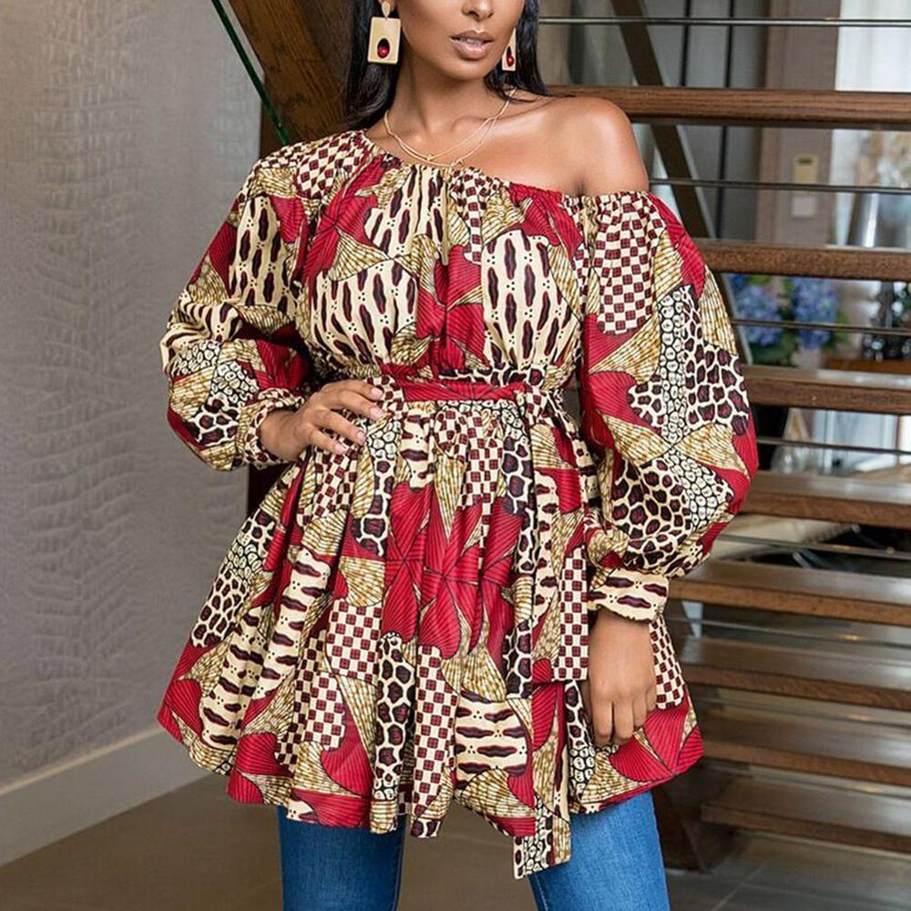 Fadzeco African Dresses For Women Dashiki One Shoulder Puffed Sleeve Summer Mini Dress Tribal Print Vestidos Femme