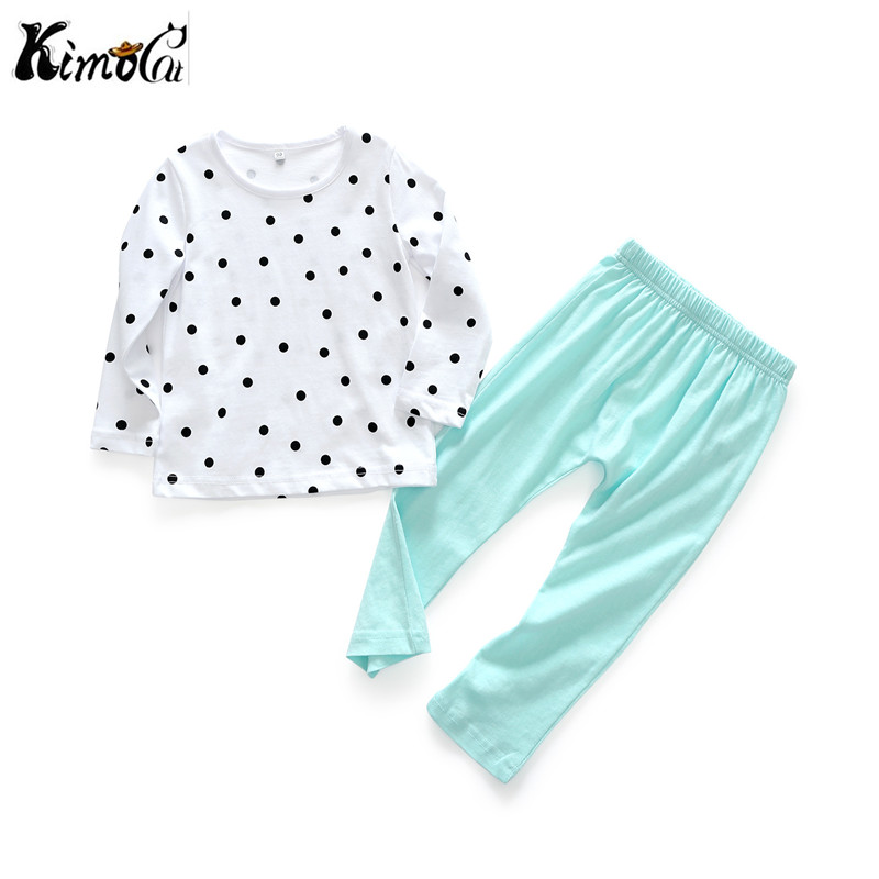 Kimocat new baby boy clothes Spring and autumn long sleeves Cotton fashionable polka dot printed baby girl suits baby born