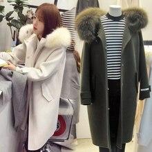 2016 autumn and winter new Korean women loose hooded hooded wool coat collar long wool coat woman