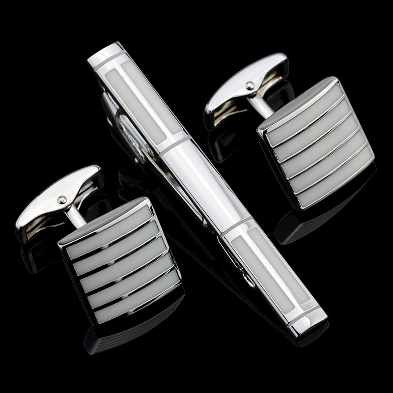 MMS Stainless Steel Enamel White Cufflinks and Tie Clip Clasp Bar Set FREE SHIPPING For Men Gift French Shirt High Quality