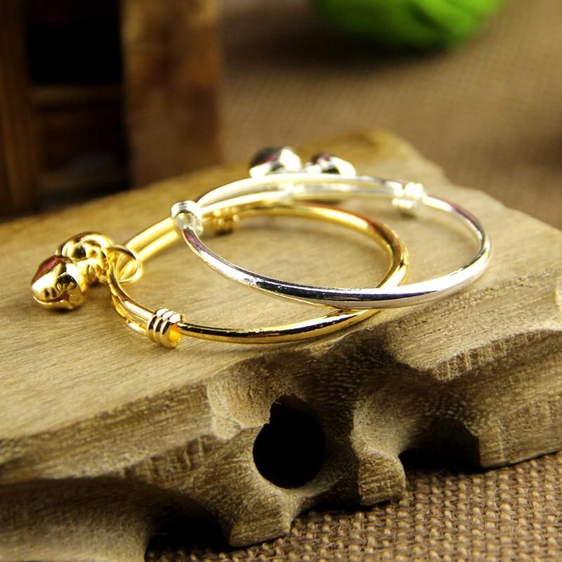 2PCS baby bell bracelet/bracelet plated silver/ plated18K gold Kid ...