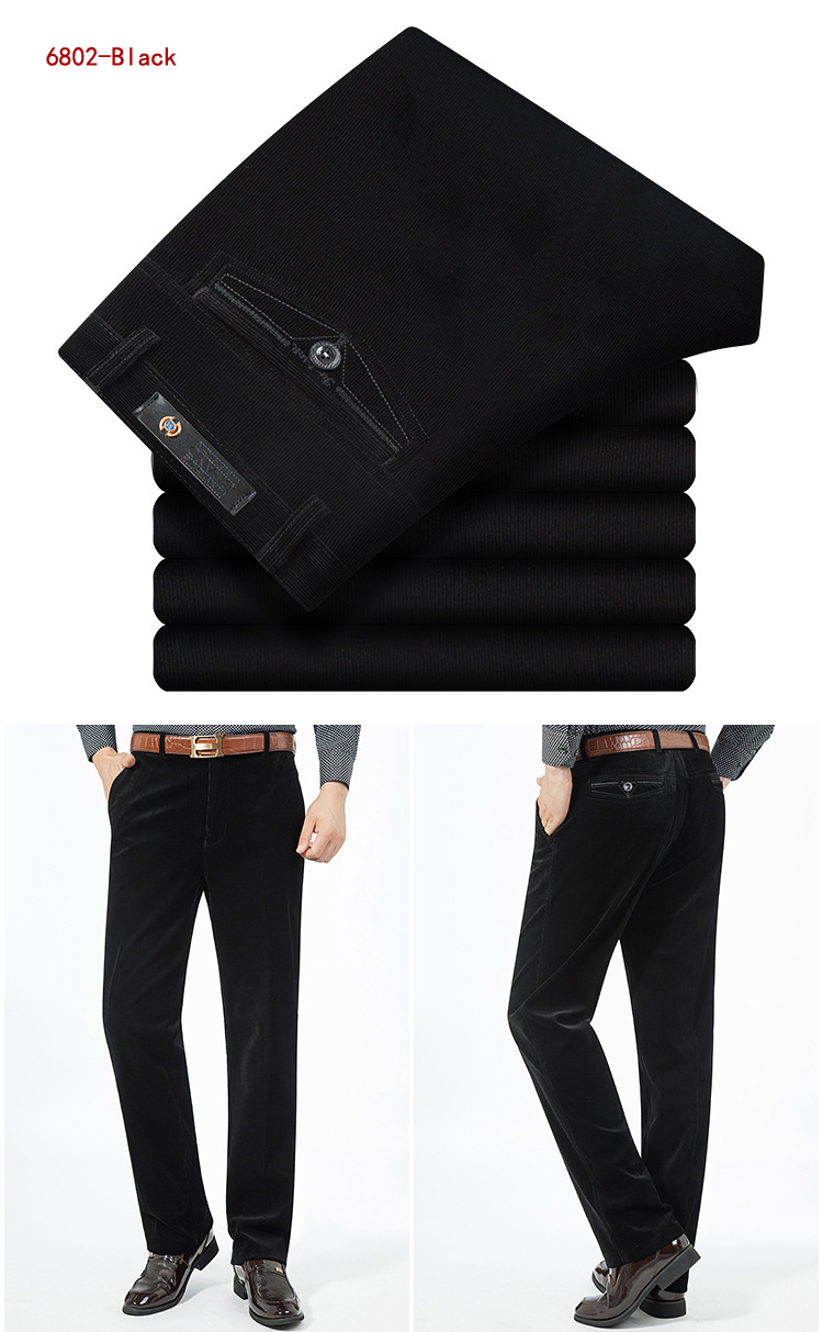 HTB1w stB8mWBuNkSndVq6AsApXa3 Autumn Spring corduroy trousers men's leisure pants high waist straight middle-aged wash and wear business casual corduroy pants