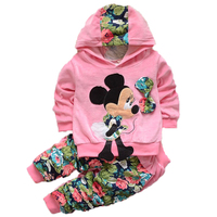 Brand Baby Girls Minnie Mickey Suits Children Velvet Flower Hoodies Jacket Cost Pants Baby   Sets   For Girls Kids   Clothing     Sets