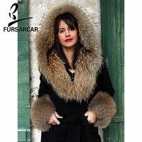 FURSARCAR 2018 New Black Raccoon Fur Collar Coat Natural Winter Fur Jacket With Fur Hood Women Fashion Luxury Cashmere Long Coat