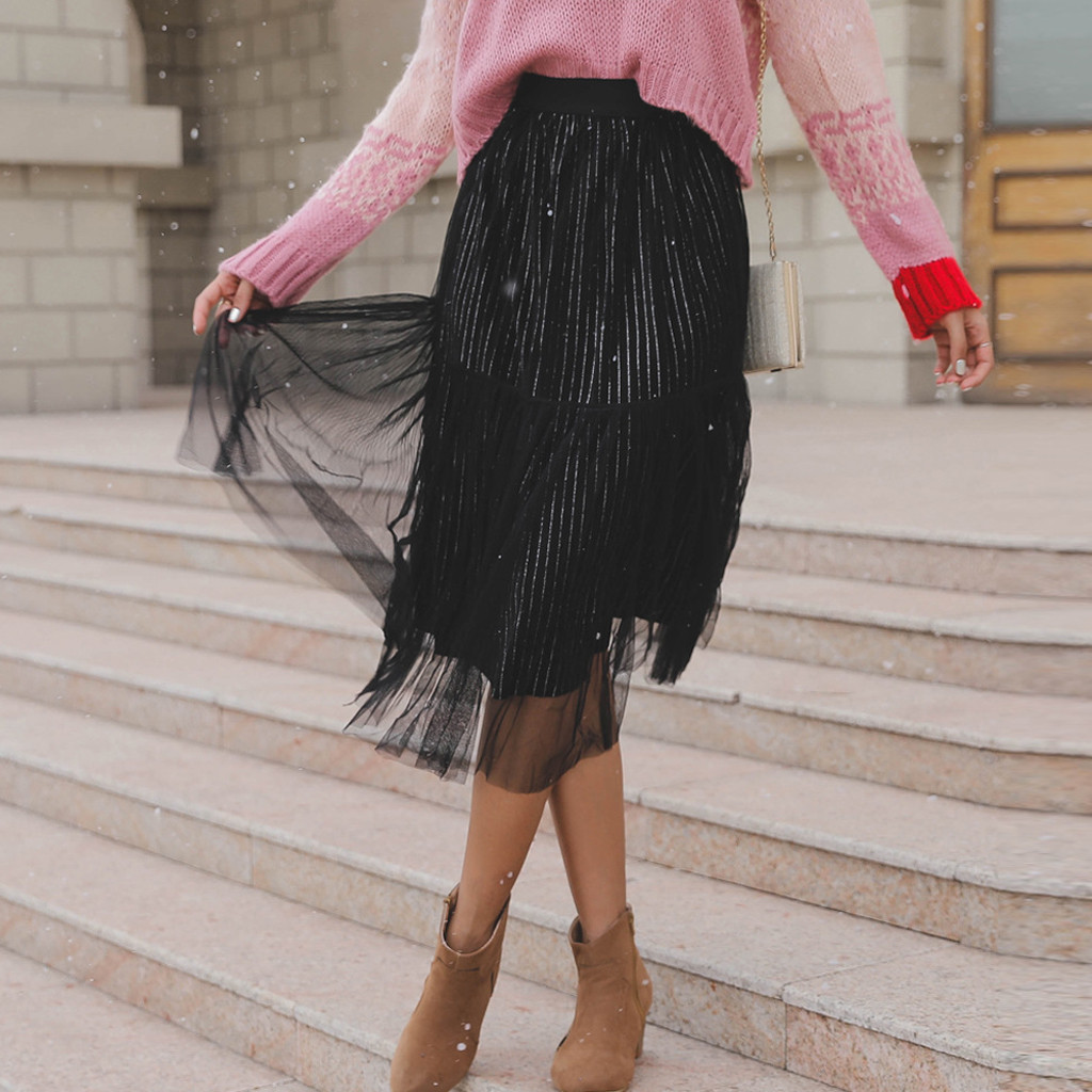 Women's fashion tutu skirt solid splicing mesh skirt high waist casual 2019 winter chiffon pleated tulle skirts