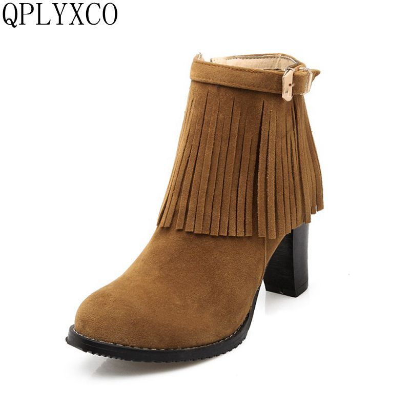 QPLYXCO 2017 New sale Big Small Size 30-48 Women ankle  Short Fringe Boots high heels zipper Winter Snow Boot Warm Shoes 160-6 qplyxco 2017 sale big